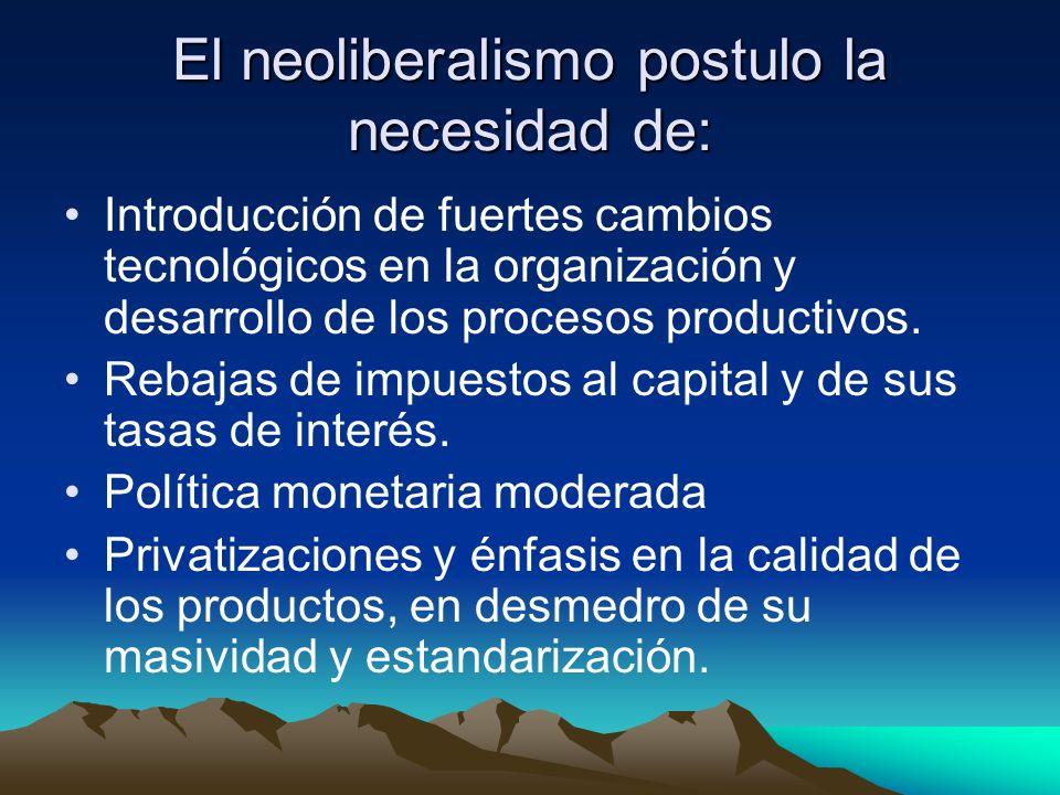 El neoliberalismo postulo la necesidad de: