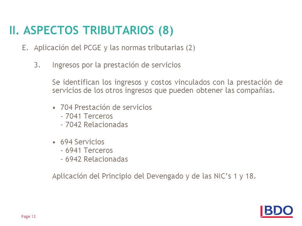 II. ASPECTOS TRIBUTARIOS (8)