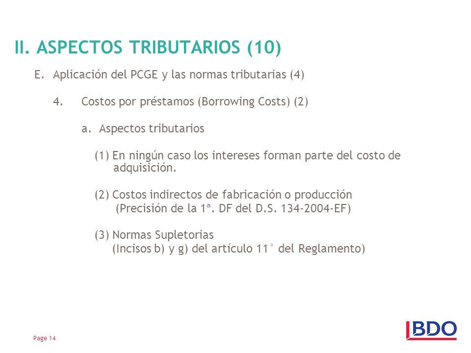 II. ASPECTOS TRIBUTARIOS (10)