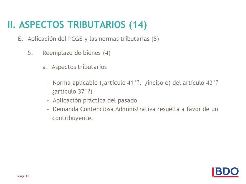 II. ASPECTOS TRIBUTARIOS (14)
