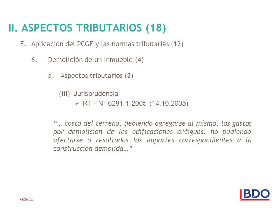 II. ASPECTOS TRIBUTARIOS (18)