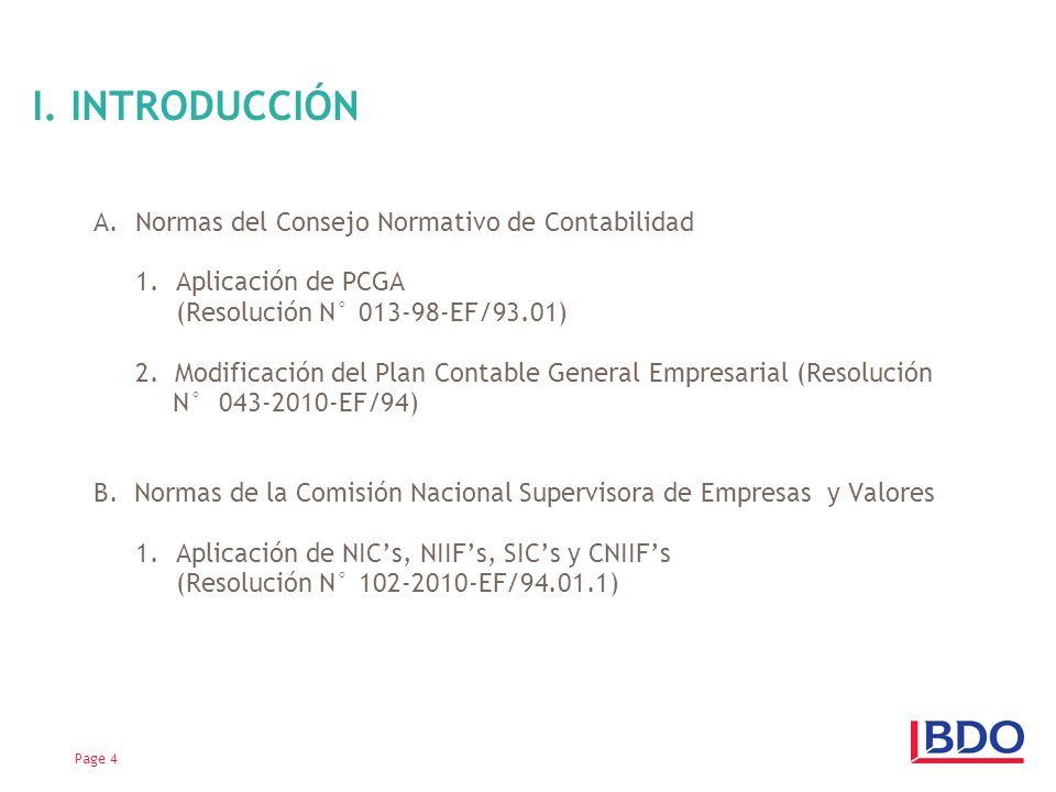 I. INTRODUCCIÓN Normas del Consejo Normativo de Contabilidad