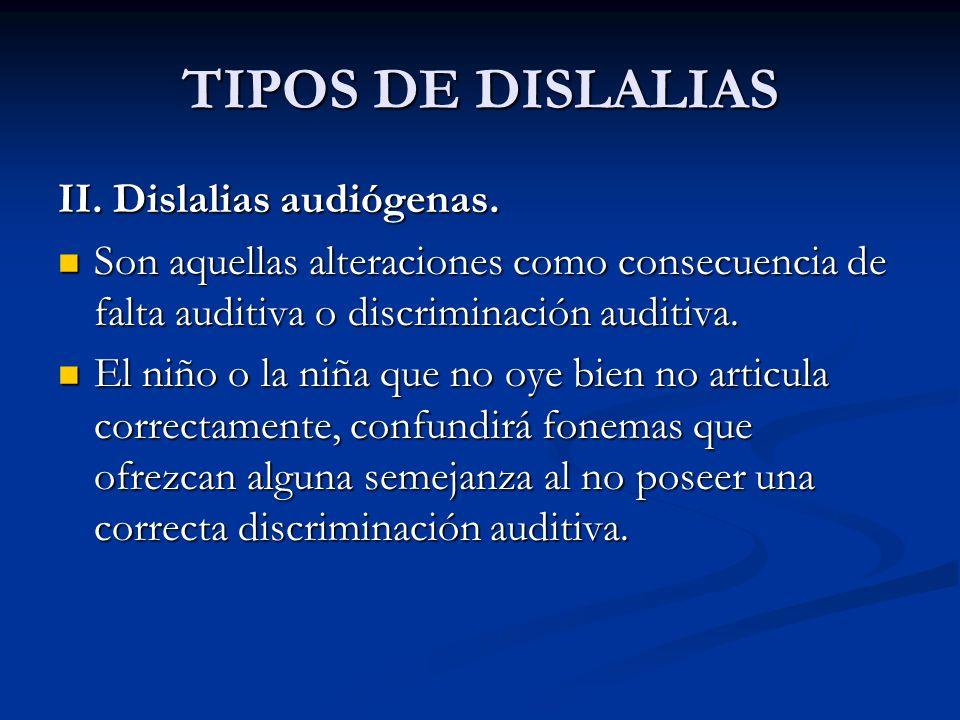 TIPOS DE DISLALIAS II. Dislalias audiógenas.