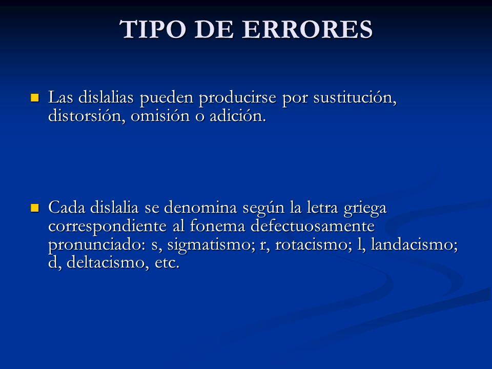 TIPO DE ERRORES Las dislalias pueden producirse por sustitución, distorsión, omisión o adición.
