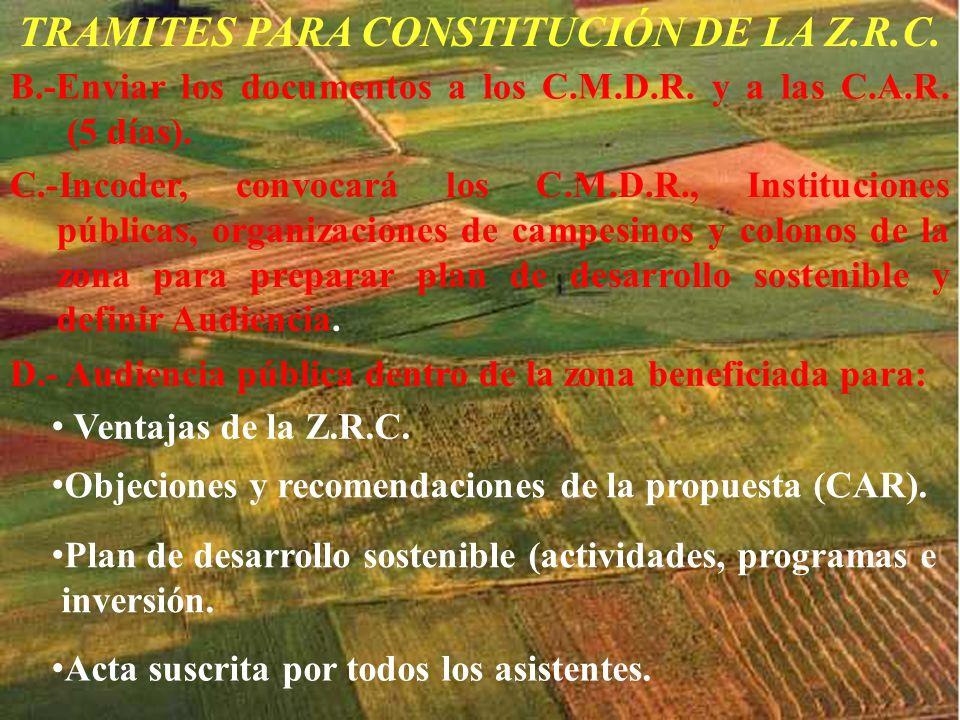 TRAMITES PARA CONSTITUCIÓN DE LA Z.R.C.
