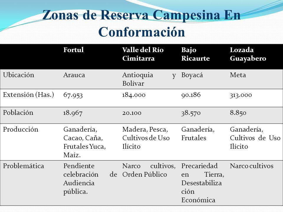 Zonas de Reserva Campesina En Conformación