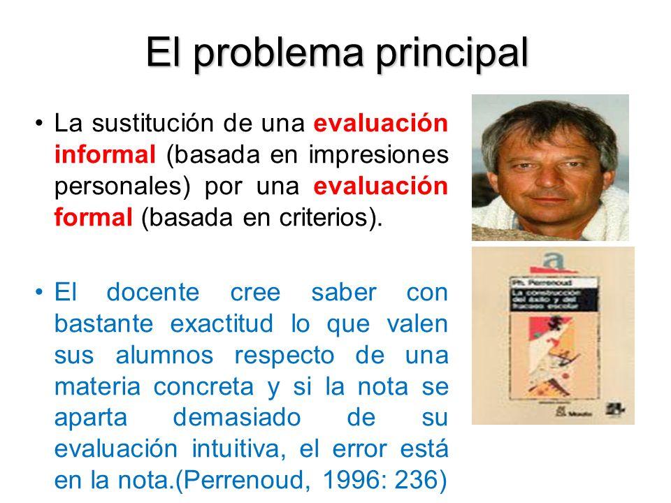 El problema principal La sustitución de una evaluación informal (basada en impresiones personales) por una evaluación formal (basada en criterios).