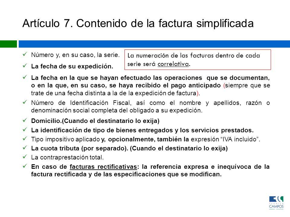 Artículo 7. Contenido de la factura simplificada