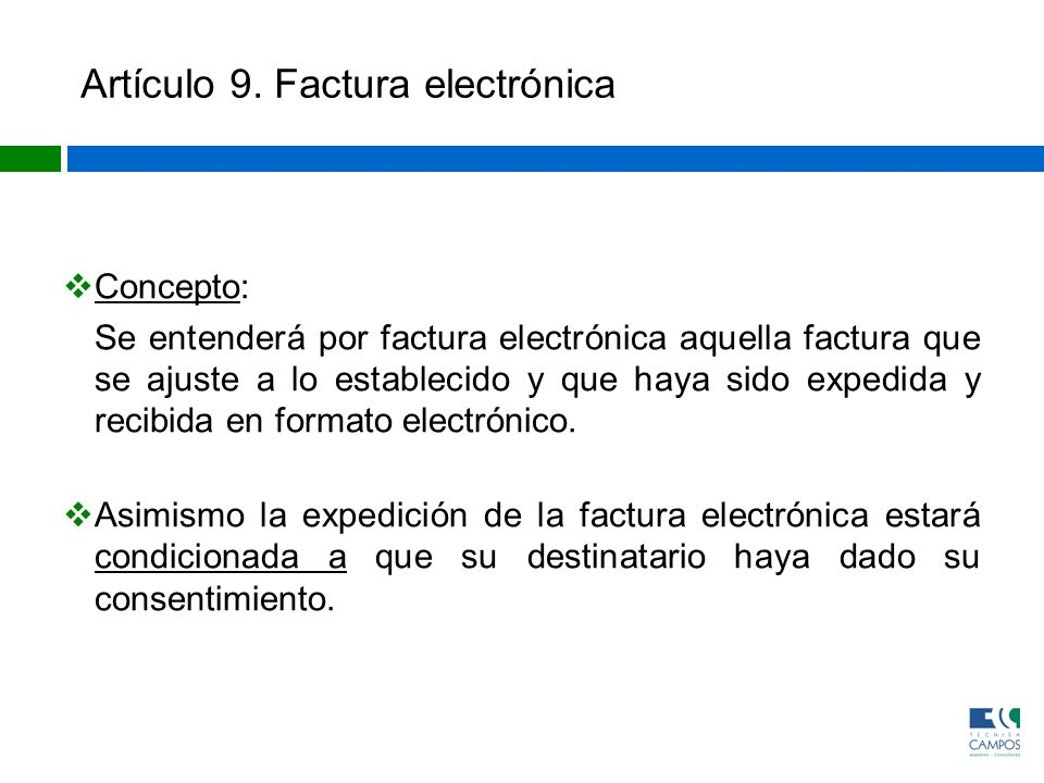 Artículo 9. Factura electrónica