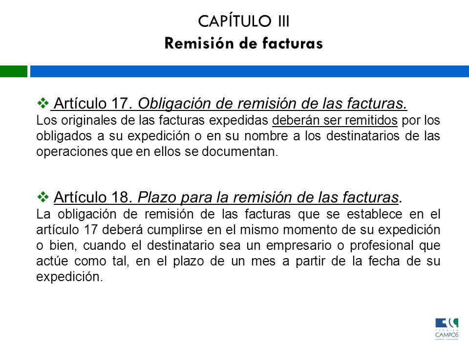 CAPÍTULO III Remisión de facturas