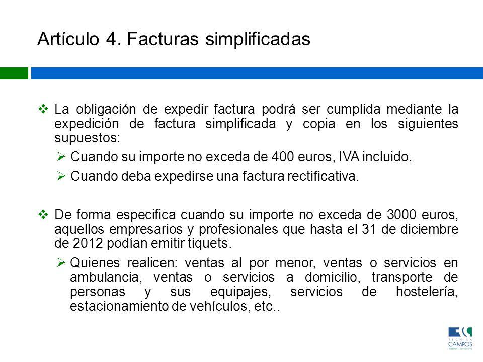 Artículo 4. Facturas simplificadas