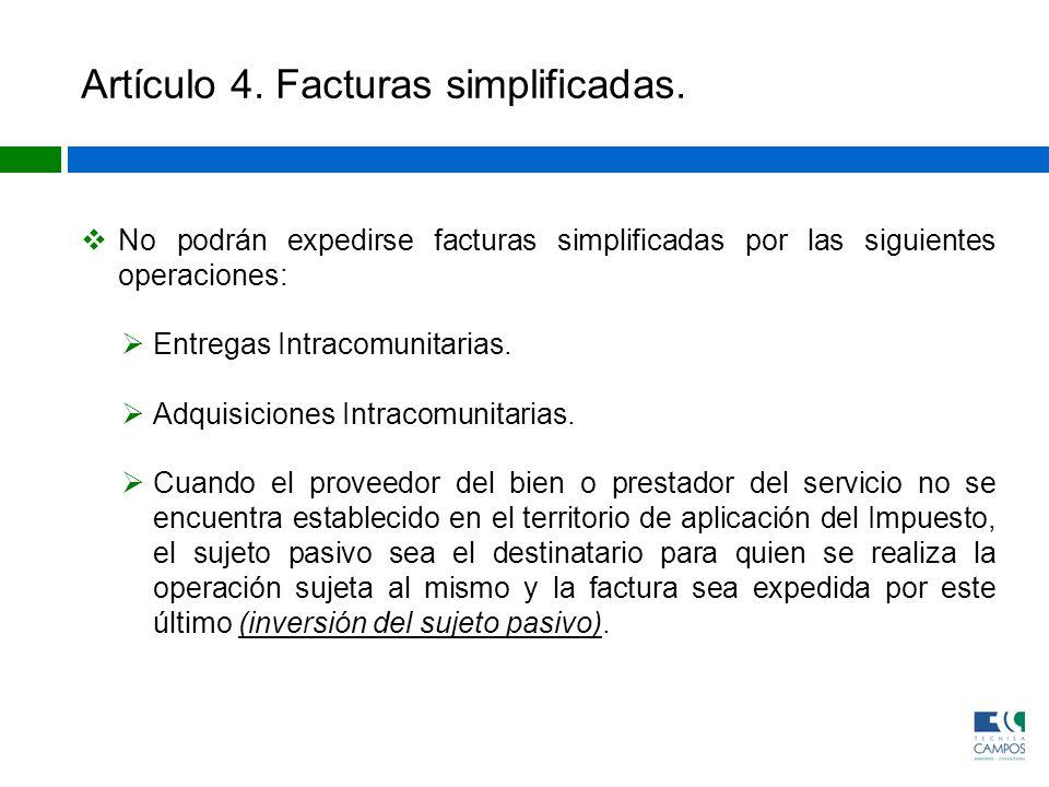 Artículo 4. Facturas simplificadas.