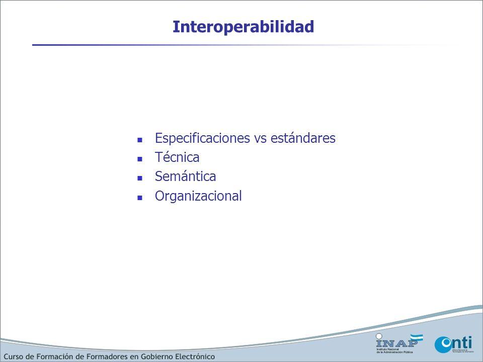 Interoperabilidad Especificaciones vs estándares Técnica Semántica