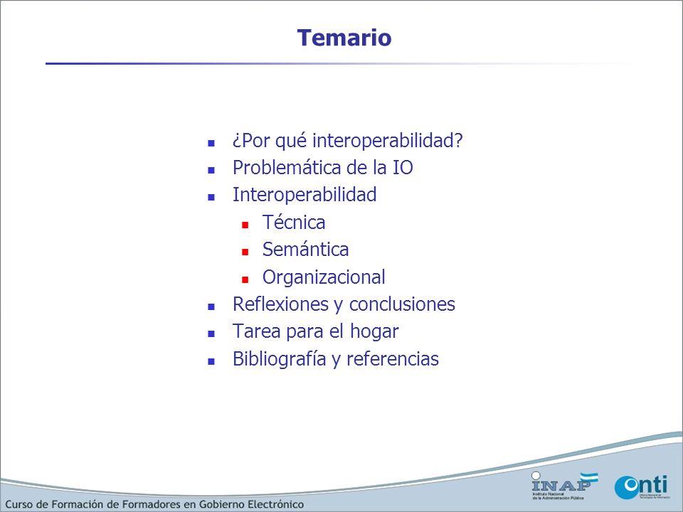 Temario ¿Por qué interoperabilidad Problemática de la IO