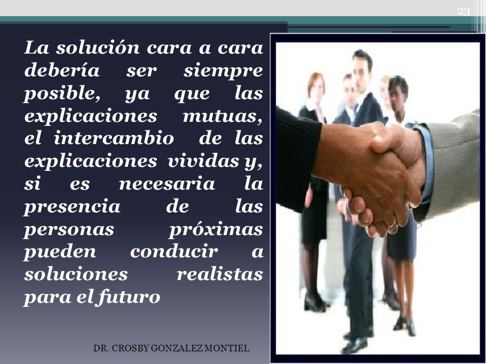 La solución cara a cara debería ser siempre posible, ya que las explicaciones mutuas, el intercambio de las explicaciones vividas y, si es necesaria la presencia de las personas próximas pueden conducir a soluciones realistas para el futuro