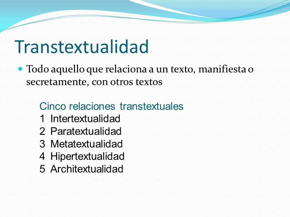 Transtextualidad Todo aquello que relaciona a un texto, manifiesta o secretamente, con otros textos.