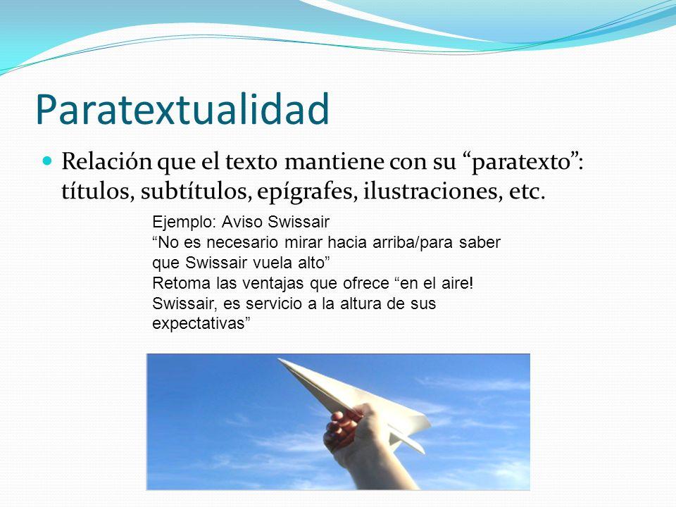 Paratextualidad Relación que el texto mantiene con su paratexto : títulos, subtítulos, epígrafes, ilustraciones, etc.