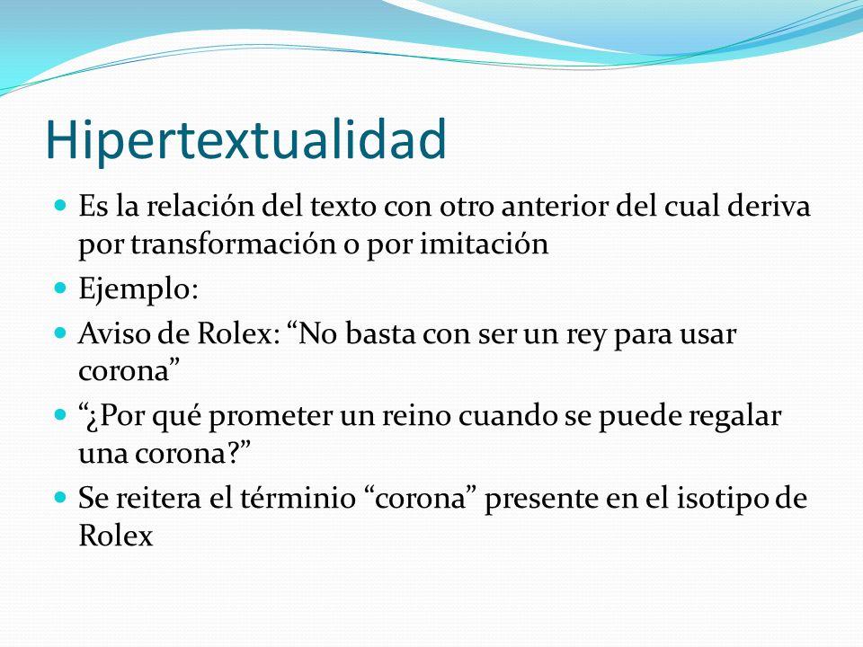 Hipertextualidad Es la relación del texto con otro anterior del cual deriva por transformación o por imitación.