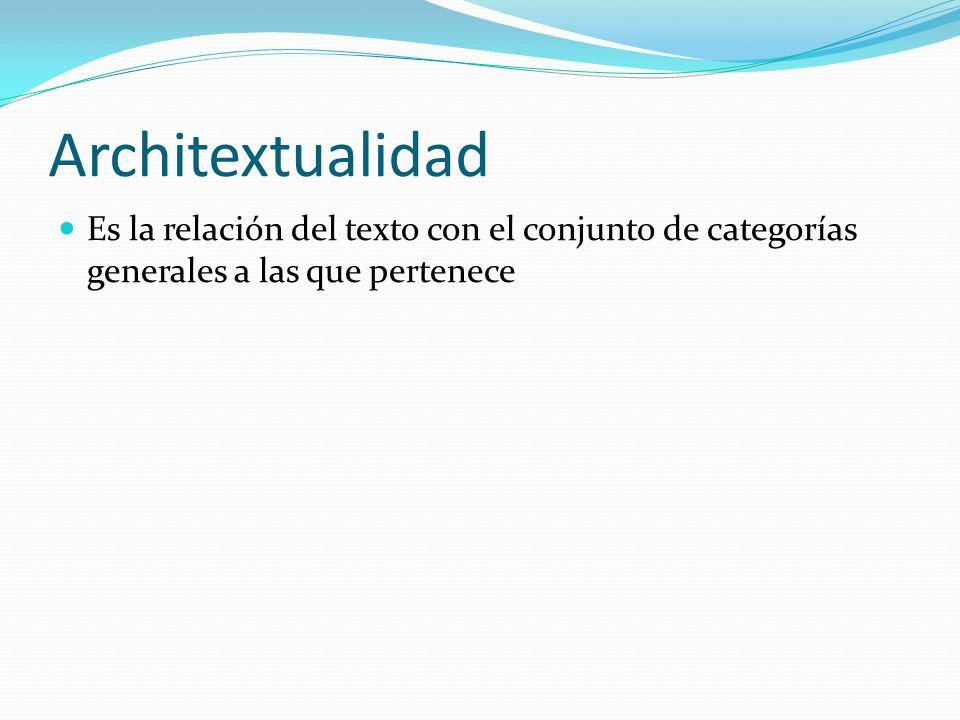 Architextualidad Es la relación del texto con el conjunto de categorías generales a las que pertenece.