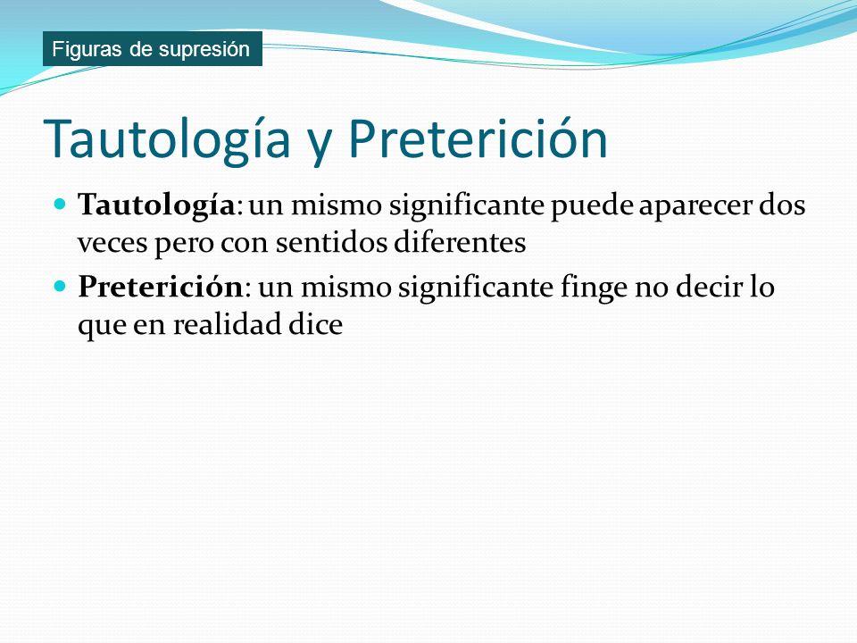 Tautología y Preterición