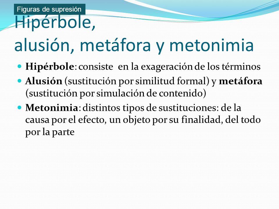Hipérbole, alusión, metáfora y metonimia