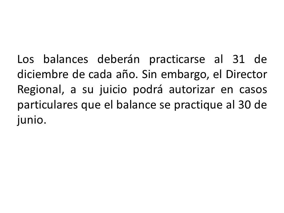 Los balances deberán practicarse al 31 de diciembre de cada año