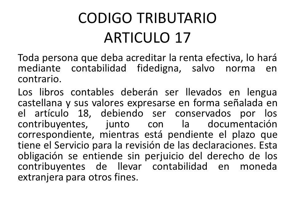 CODIGO TRIBUTARIO ARTICULO 17