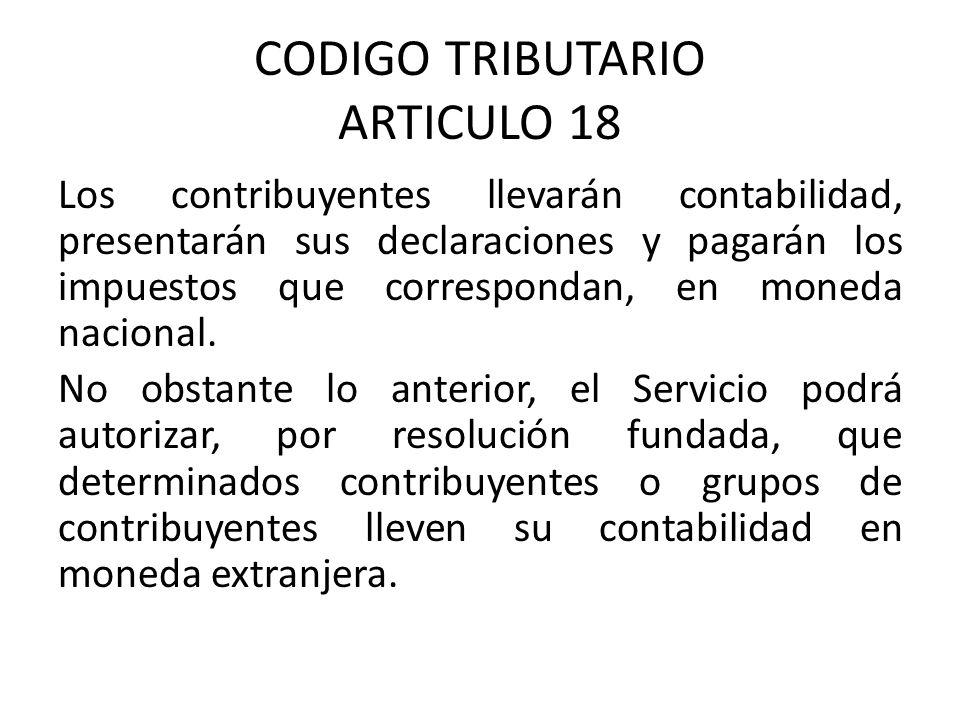CODIGO TRIBUTARIO ARTICULO 18