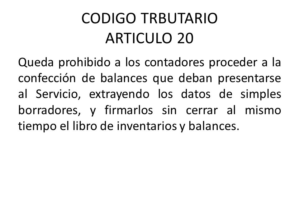 CODIGO TRBUTARIO ARTICULO 20