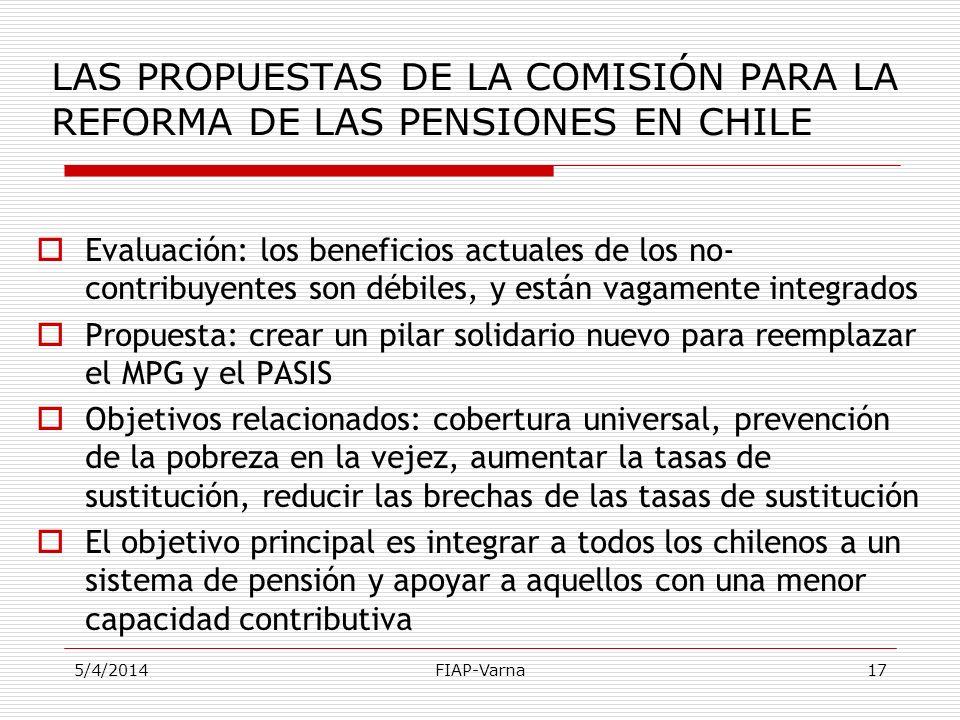 LAS PROPUESTAS DE LA COMISIÓN PARA LA REFORMA DE LAS PENSIONES EN CHILE
