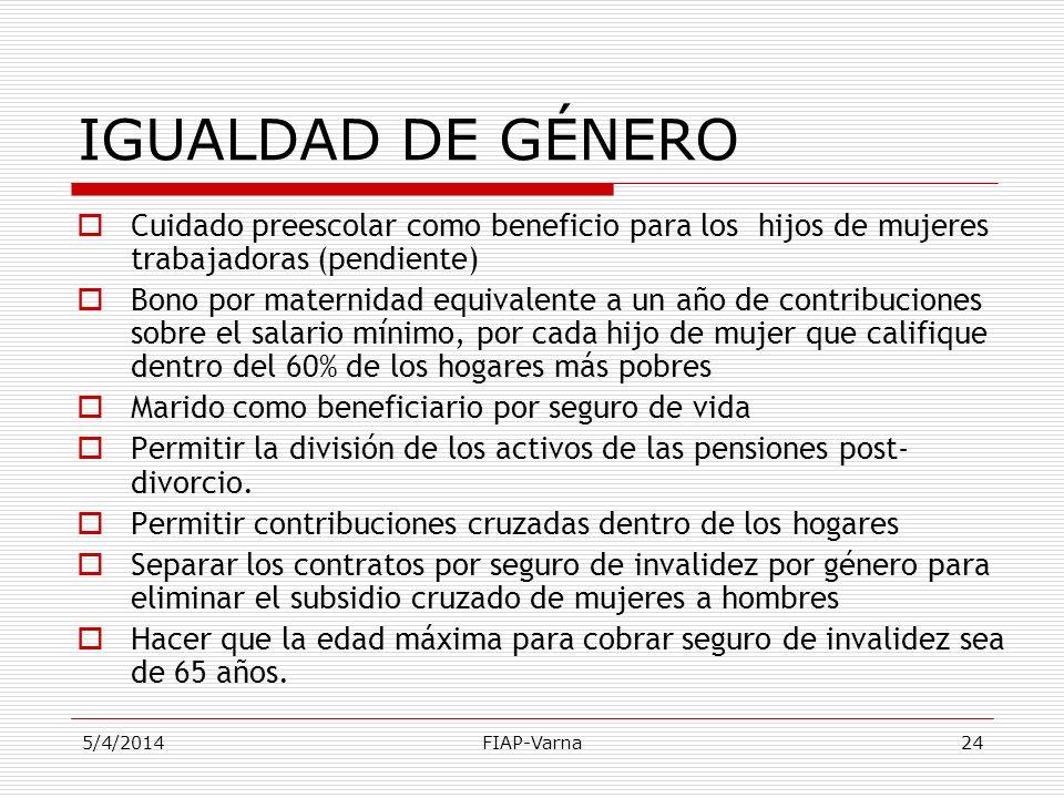 IGUALDAD DE GÉNERO Cuidado preescolar como beneficio para los hijos de mujeres trabajadoras (pendiente)