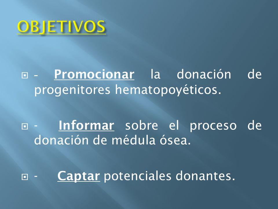 OBJETIVOS - Promocionar la donación de progenitores hematopoyéticos.