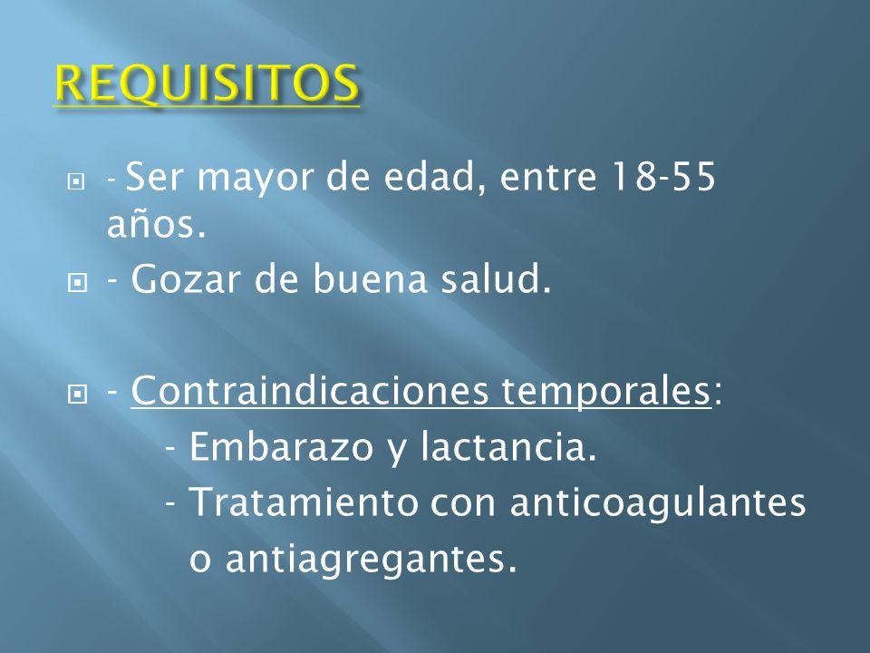 REQUISITOS - Gozar de buena salud. - Contraindicaciones temporales: