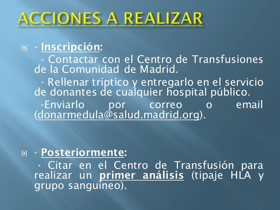ACCIONES A REALIZAR - Inscripción: