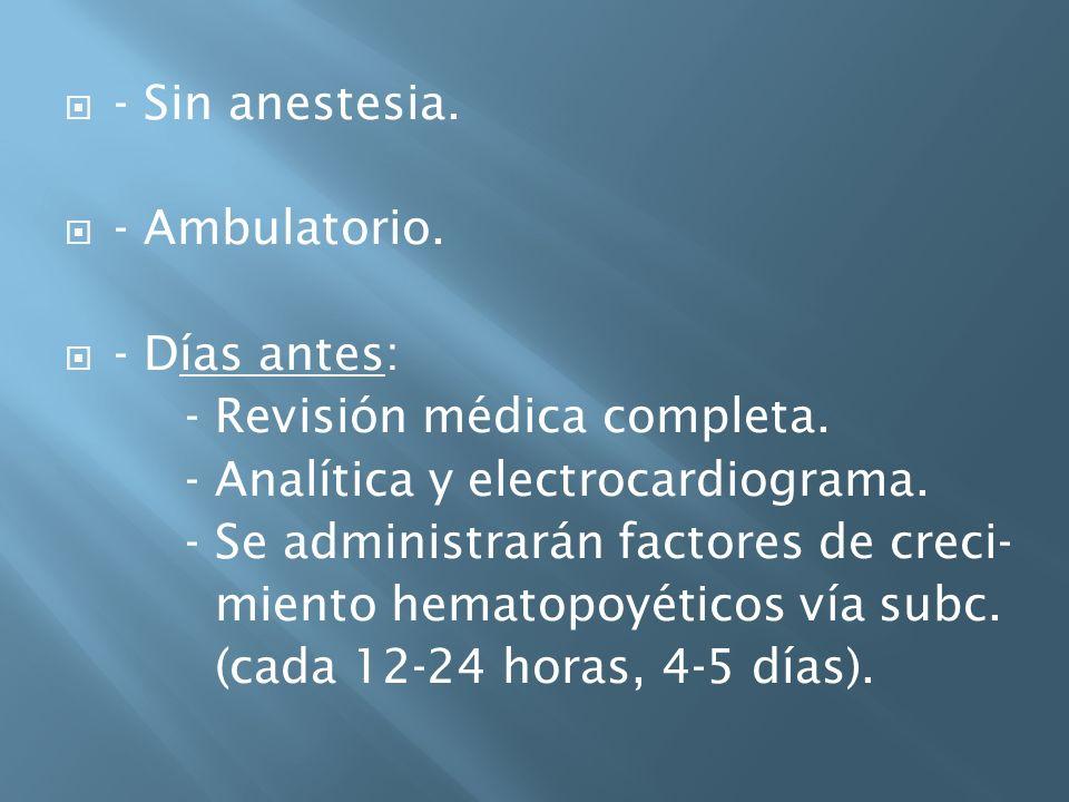 - Sin anestesia. - Ambulatorio. - Días antes: - Revisión médica completa. - Analítica y electrocardiograma.