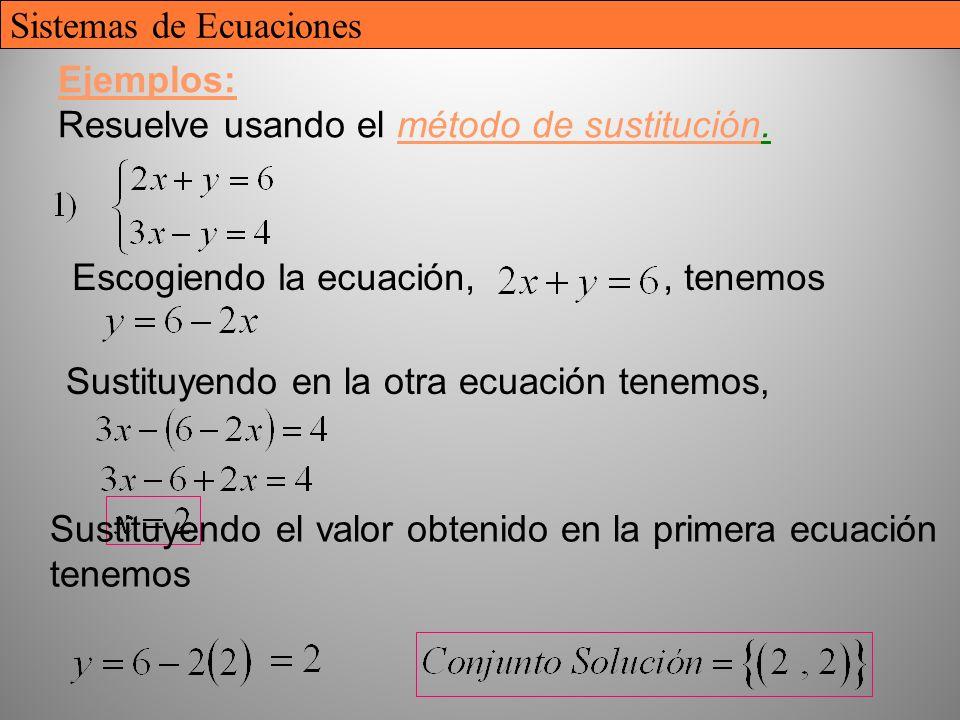 Ejemplos: Resuelve usando el método de sustitución.