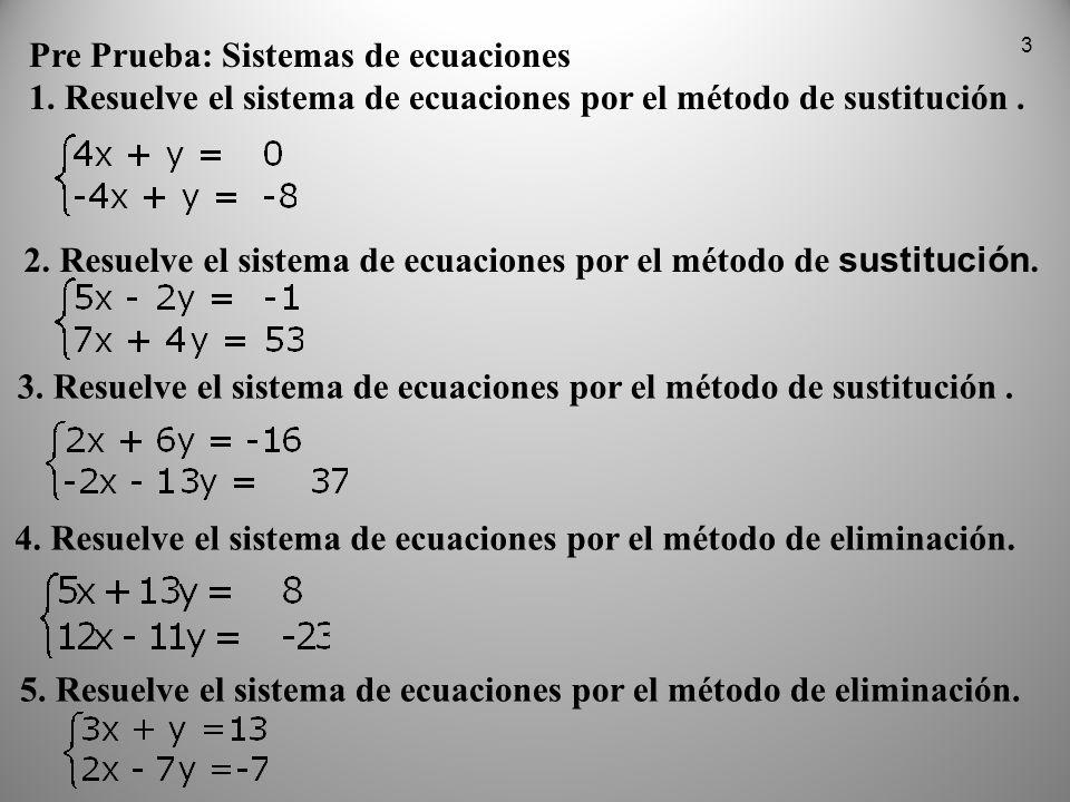 Pre Prueba: Sistemas de ecuaciones