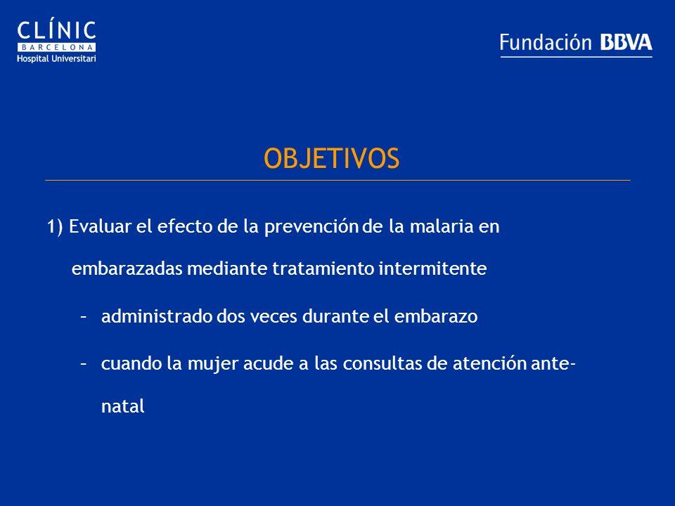 OBJETIVOS 1) Evaluar el efecto de la prevención de la malaria en embarazadas mediante tratamiento intermitente.