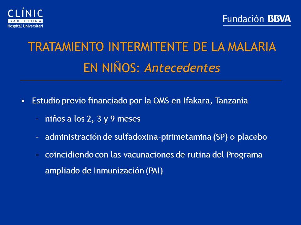 TRATAMIENTO INTERMITENTE DE LA MALARIA EN NIÑOS: Antecedentes