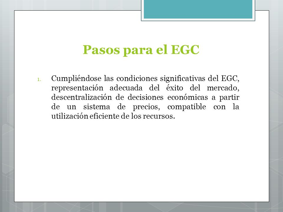 Pasos para el EGC