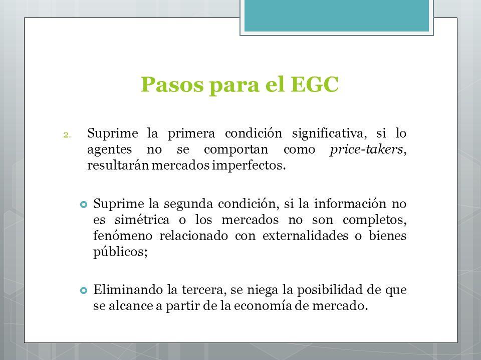 Pasos para el EGC Suprime la primera condición significativa, si lo agentes no se comportan como price-takers, resultarán mercados imperfectos.