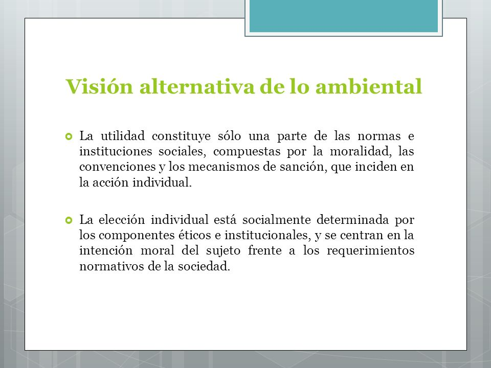 Visión alternativa de lo ambiental