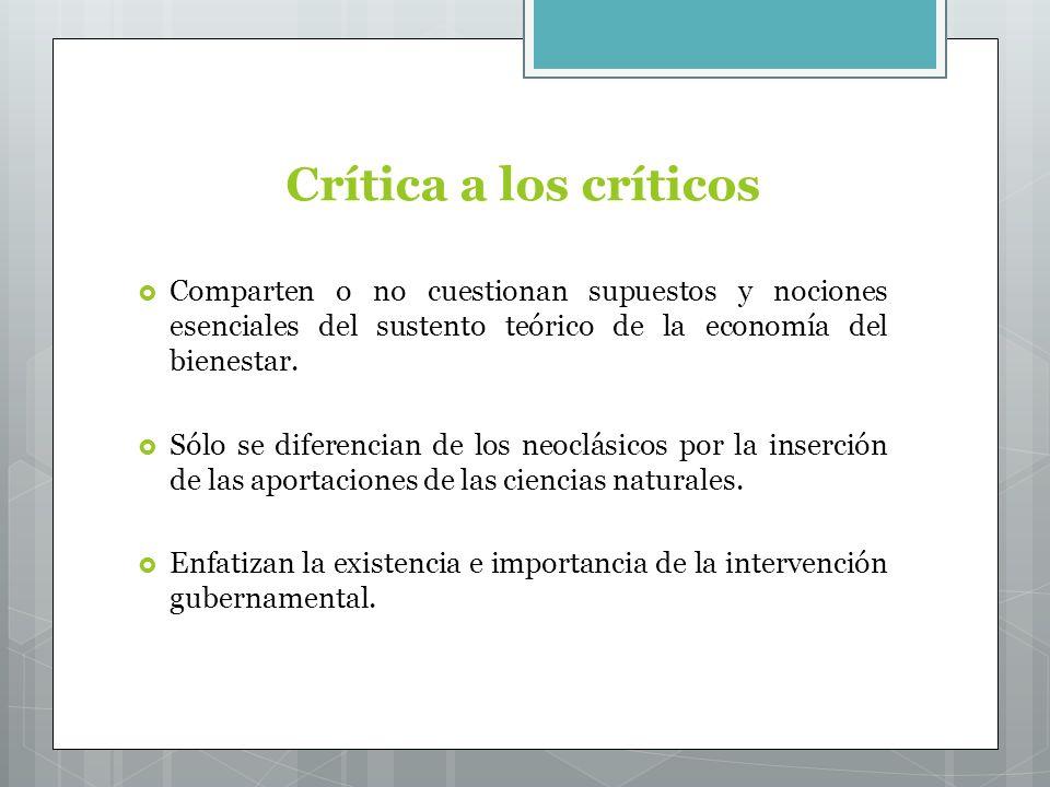 Crítica a los críticos Comparten o no cuestionan supuestos y nociones esenciales del sustento teórico de la economía del bienestar.