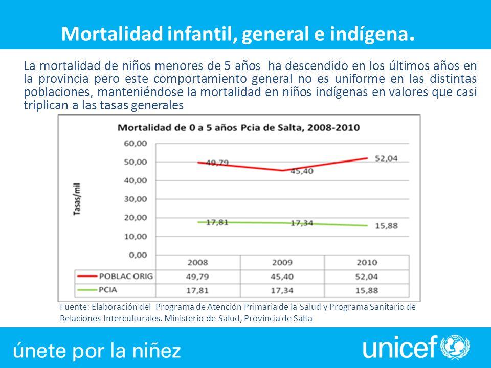 Mortalidad infantil, general e indígena.