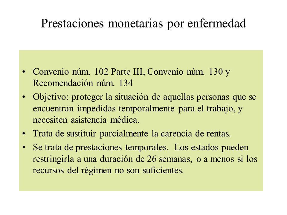 Prestaciones monetarias por enfermedad
