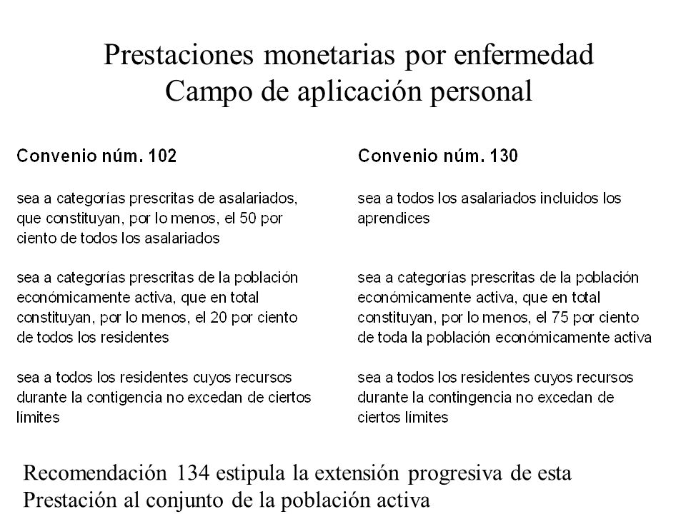 Prestaciones monetarias por enfermedad Campo de aplicación personal