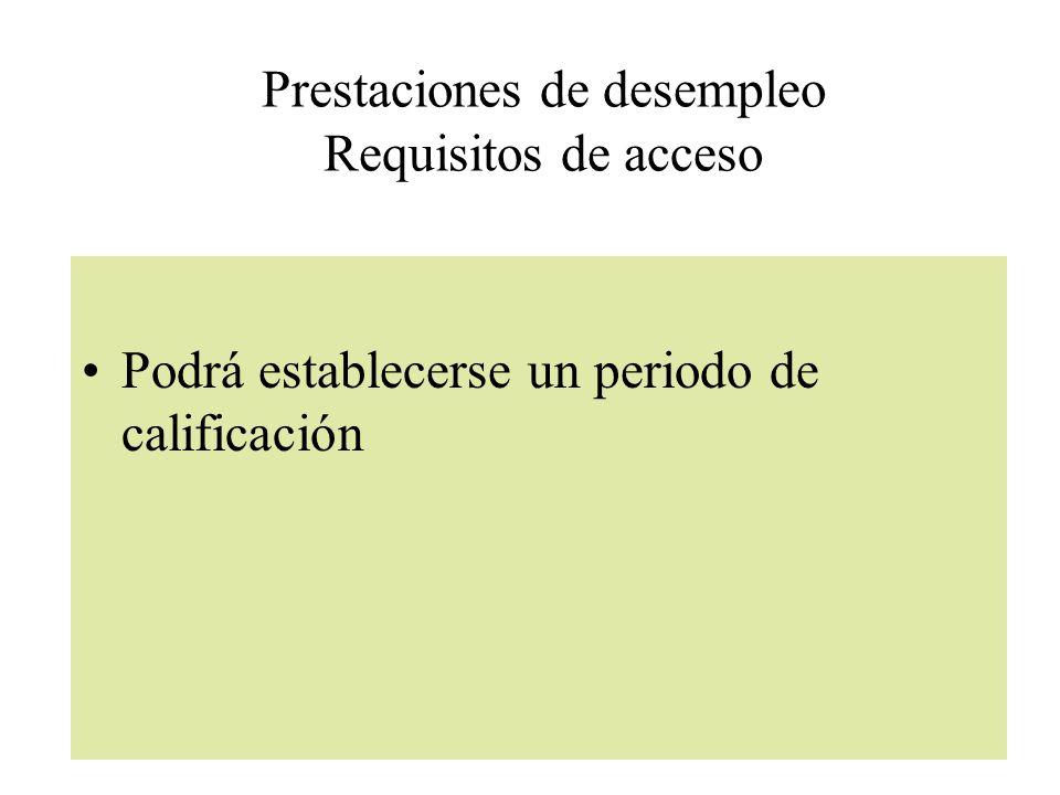 Prestaciones de desempleo Requisitos de acceso