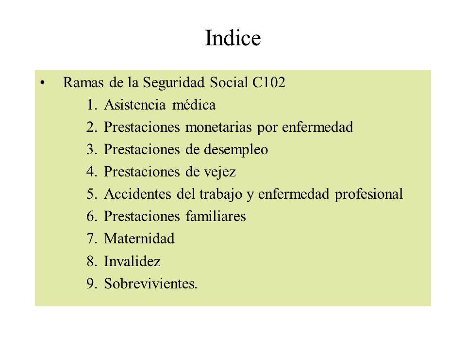 Indice Ramas de la Seguridad Social C102 Asistencia médica