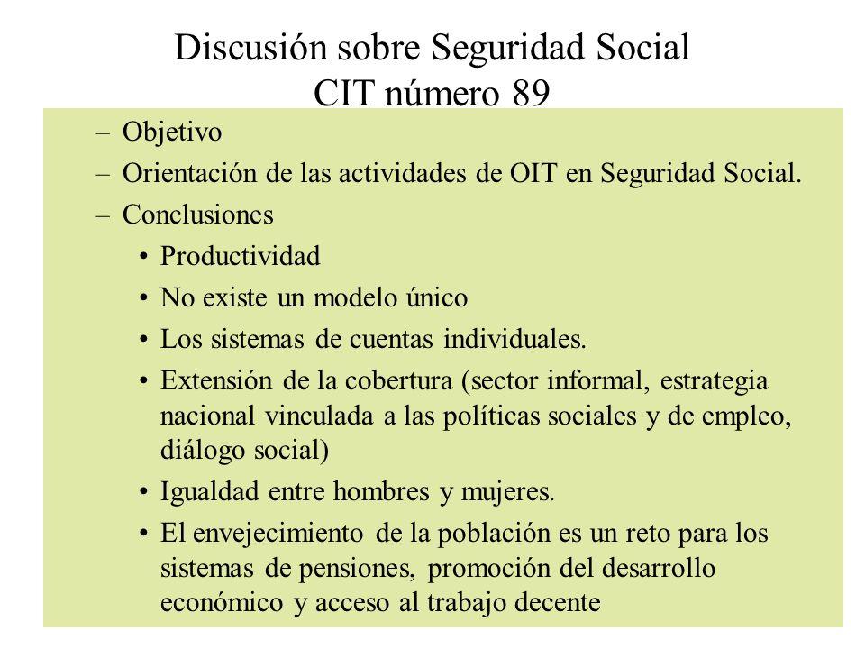 Discusión sobre Seguridad Social CIT número 89