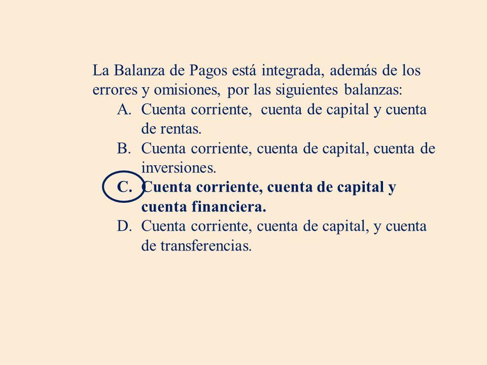 La Balanza de Pagos está integrada, además de los errores y omisiones, por las siguientes balanzas: